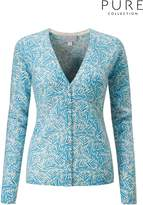 Next Womens Pure Collection Blue Cashmere V-Neck Cardigan - Blue