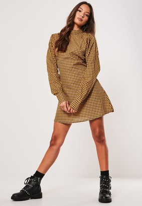 Missguided Yellow Check High Neck A Line Dress