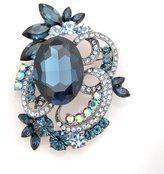 ESPYNY Spinningdaisy Bridal Hematite Elegant True Rhinestone Sapphire Stone Floral Brooch