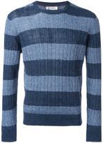Brunello Cucinelli stripes detail ribbed trim jumper - men - Cotton/Linen/Flax - 48