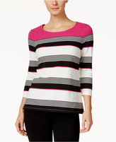 Charter Club Petite Striped Colorblocked Top, Only at Macy's