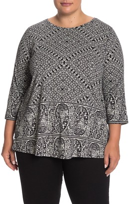 Lucky Brand Paisley Print Scoop Neck T-Shirt (Plus Size)