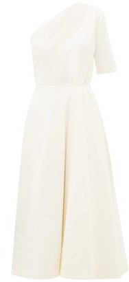 Emilia Wickstead Jenna One-shoulder Cotton-velvet Midi Dress - White