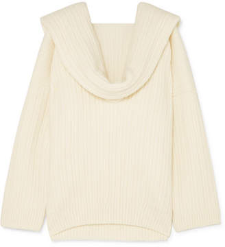 Jacquemus Ahwa Draped Ribbed Wool-blend Sweater - White