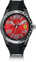 Ferrari Red Rev T Silver Tone Stainless Steel Case and Black Silicone Strap Men's Watch