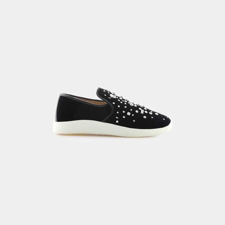 Giuseppe Zanotti Veronica Crystals Velvet Slip-On Sneaker