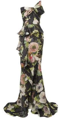 Marchesa Strapless Bow-embellished Floral-print Silk-moire Gown
