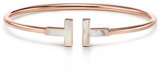Tiffany & Co. T Wire Bracelet in Rose Gold with Mother-of-pearl