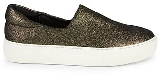 J/Slides Lux Glitter Leather Platform Slip-On Sneakers