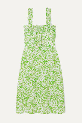 Faithfull The Brand Mae Belted Ruffled Floral-print Crepe Dress - Mint