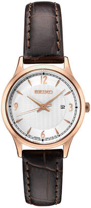 Seiko Women Essential Brown Leather Strap Watch 28.7mm
