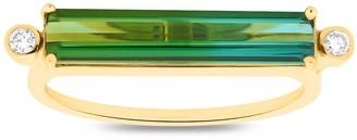 Tresor Collection Green Tourmaline & Diamond Bar Ring In 18K Yellow Gold