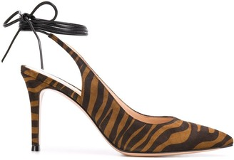 Gianvito Rossi Tiger-Print Ankle-Tie Pumps