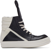 Rick Owens Black & Ivory Geobasket High-Top Sneakers