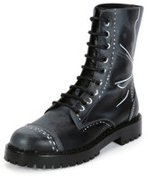 Moschino Trompe L'oeil Leather Combat Boot, Grey