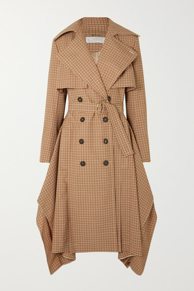 Chloé Draped Checked Woven Trench Coat - Brown