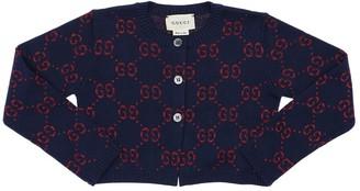 Gucci Logo Jacquard Cotton Knit Cardigan
