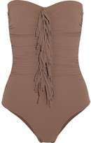 Karla Colletto Fresco Fringed Ruched Bandeau Swimsuit - Light brown