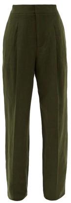 Haider Ackermann High-rise Linen Wide-leg Trousers - Khaki