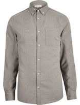 River Island Mens Grey flannel long sleeve shirt