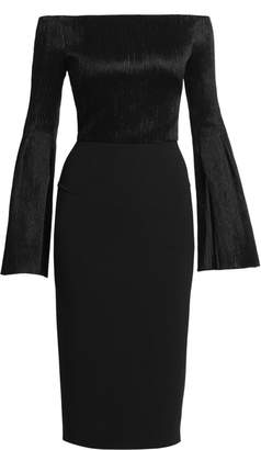 Roland Mouret Anina Plisse Off-The-Shoulder Dress