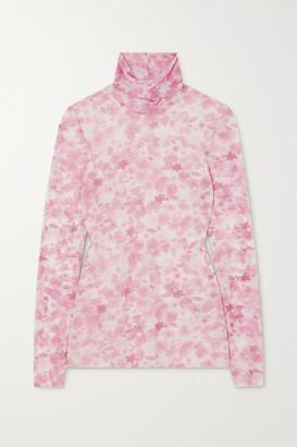 Ganni Floral-print Stretch-mesh Turtleneck Top - Pink