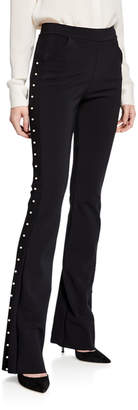 Chiara Boni Tulay Straight-Leg Pants with Pearly Trim
