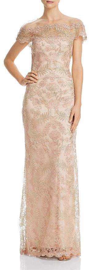 Tadashi Shoji Illusion Off-The-Shoulder Lace Gown