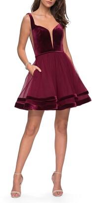 La Femme Velvet & Tulle Cocktail Dress