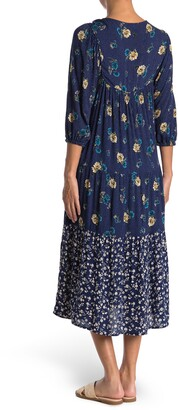 Angie Floral V-Neck 3/4 Sleeve Tiered Midi Dress