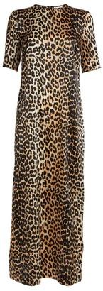 Ganni Satin Leopard Print Dress