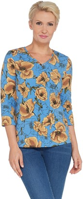 Denim & Co. Floral Print Perfect Jersey 3/4-Sleeve V-Neck Top