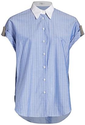 Brunello Cucinelli Monili-Tab Collared Short-Sleeve Shirt
