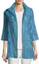 Caroline Rose Tonal Ribbon Topper Jacket, Blue, Plus Size