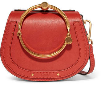 Chloé Nile Bracelet Small Leather And Suede Shoulder Bag - Red