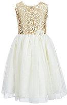 Jayne Copeland Little Girls 2T-6X Brocade Floral-Applique Dress