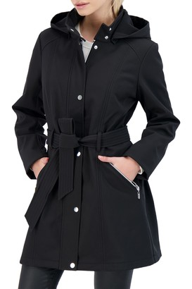 Sebby Collection Belted Zip Front Softshell Jacket