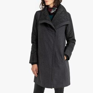 Anne Weyburn Dual Fabric Zipped Coat with Pockets and Asymmetric Zip