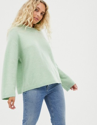Weekday round neck sweater in mint-Green