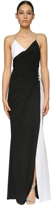 Azzaro LIGHT CREPE LONG DRESS W/ CRYSTALS