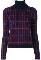 Carven plaid turtleneck pullover - women - Polyester/Wool/Metallic Fibre - L