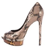 Brian Atwood Metallic Peep-Toe Pumps