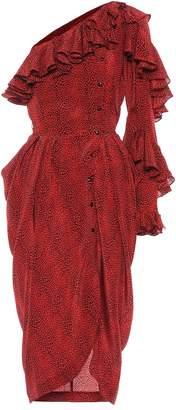 Philosophy di Lorenzo Serafini Printed silk one-shoulder dress