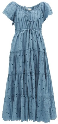 Innika Choo Tiered Broderie-anglaise Cotton Dress - Blue