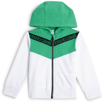 Roberto Cavalli Junior Logo Print Zip-Front Hoodie