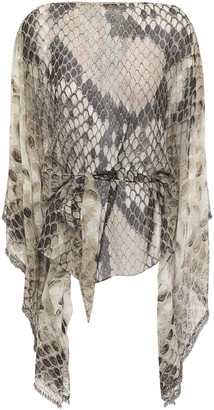 Roberto Cavalli Belted Bead-embellished Snake-print Silk-chiffon Top