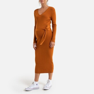 La Redoute Collections Maternity Midi Jumper Dress with Long Sleeves