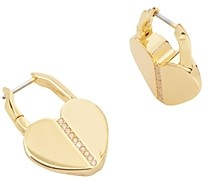 Kate Spade Lock & Spade Heart Hoop Earrings