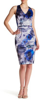 David Meister Floral Print V-Neck Sheath Dress