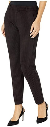 Liverpool Kelsey Knit Trousers in Grid Plaid Knit (Cranberry/Black) Women's Casual Pants